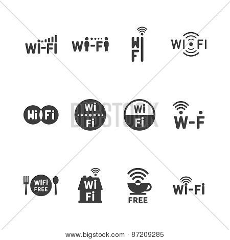 Set Of Vector Wireless Icons For Wifi Remote Control Access And Radio Communication