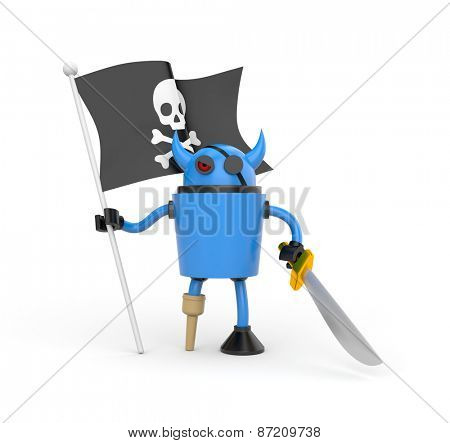 Blue robot pirate with a wooden leg, sword and a flag with Jolly Roger