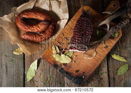 Smoked Ham On A Chopping Board.
