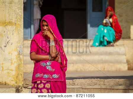 Pushkar, India - December 4, 2012: Indian women dressed in the traditional hindu dress - Sari in Pushkar, India.