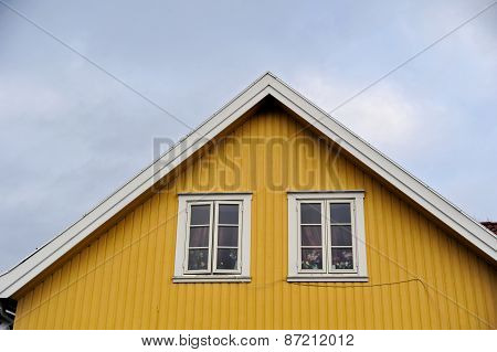 Close-up of attic of wooden scandinavian house