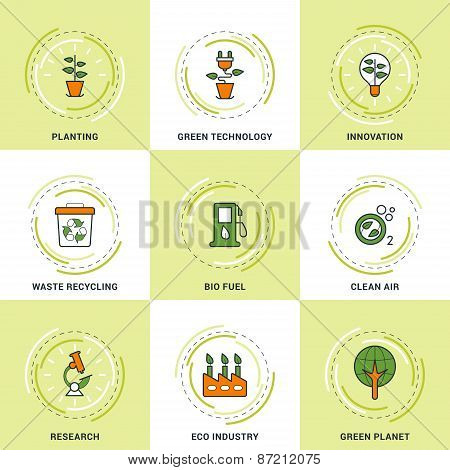 Modern Vector Ecology Line Icons Set. Planting, Research, Clean Air, Innovation, Recycling And Green