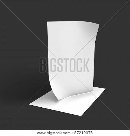Stack of pages with curved corners. Business mockup template.