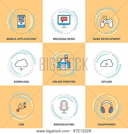 Modern Vector Line Icons Set. Modile Apps, Game, Cloud Storage, Online Printing, Usb, Broadcasting