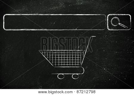 E-business And Buying Online: Search Bar And Shopping Cart