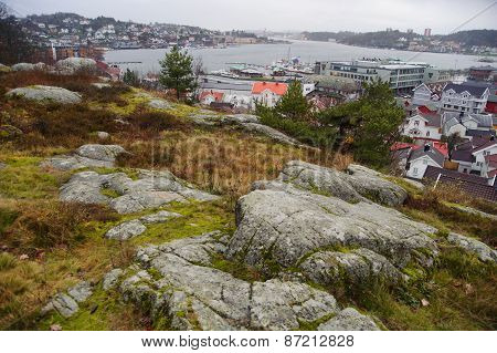 Panoramic view from viewing point on Sandefjord's main harbour