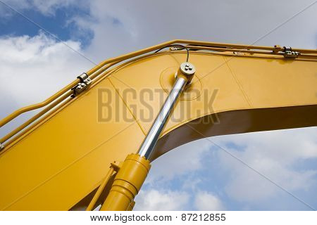 Detail of hydraulic piston excavator arm