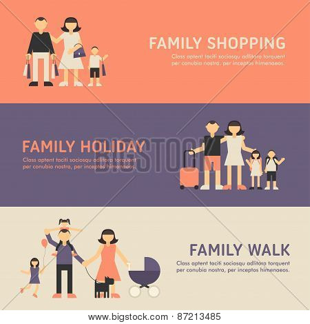 Family Shopping, Family Holiday And Family Walk. Flat Design Illustration For Web Banners