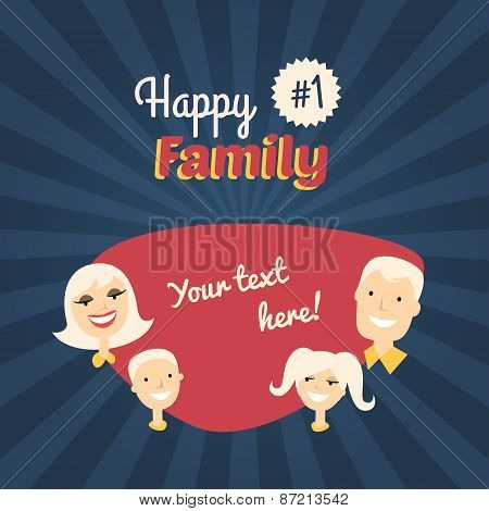 Happy Family. Mom, Son, Dad And Daughter. Flat Design Vector Illustration With Place For Text