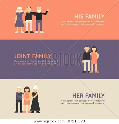 His Family, Joint Family And Her Family. Flat Design Illustration Concept For Web Banners