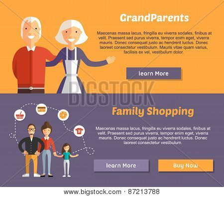 Grandparents And Family Shopping. Flat Design Illustration Concept For Web Banners