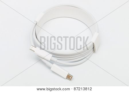 thunderbolt cable on a white background