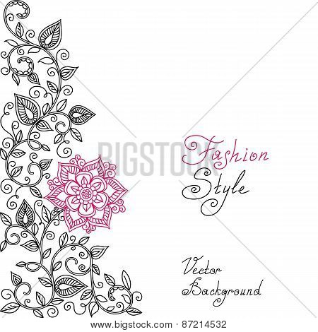 vector black, red and white floral pattern