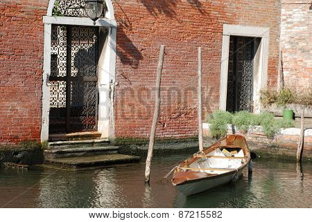 The Boat On The Mooring In Venice.