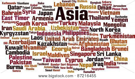 Countries In Asia Word Cloud