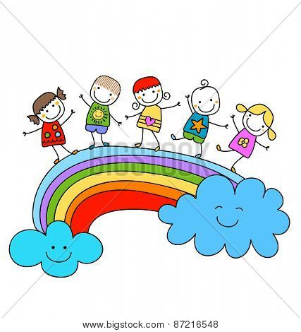 happy children on a rainbow, best friends