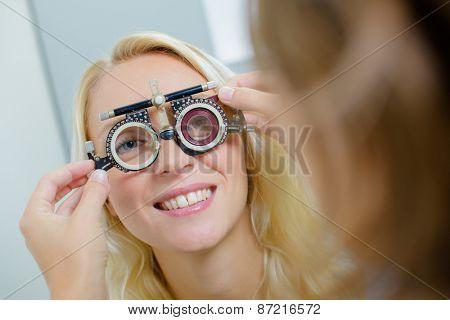 Woman having an eye test