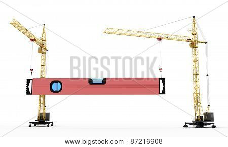 Two Construction Cranes Raise Construction Level