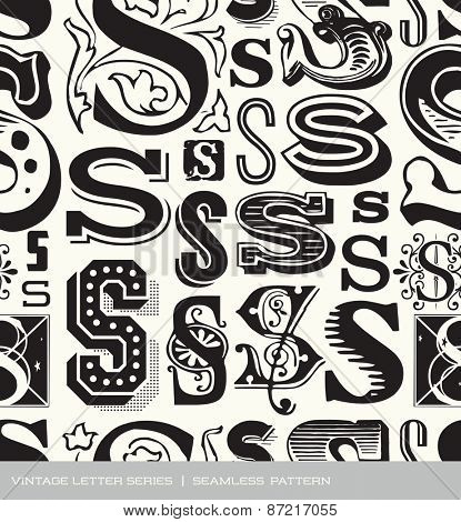 Seamless vintage pattern of the letter S