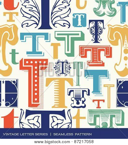 Seamless vintage pattern of the letter T in retro colors