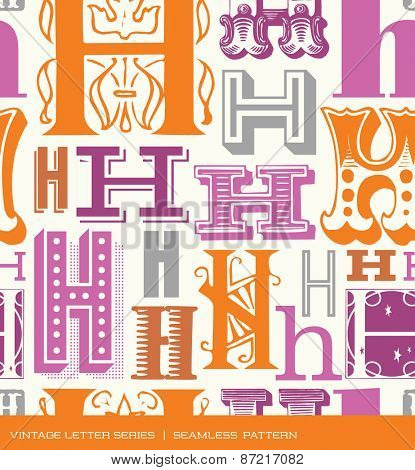 Seamless vintage pattern of the letter H in retro colors