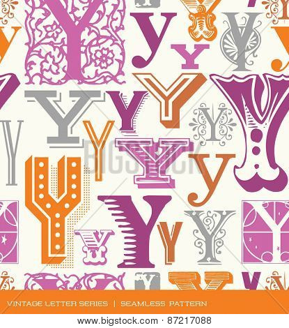 Seamless vintage pattern of the letter Y in retro colors