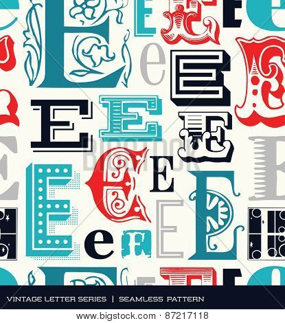Seamless vintage pattern of the letter E in retro colors