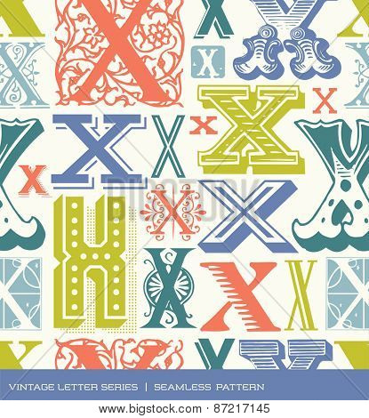 Seamless vintage pattern of the letter X in retro colors