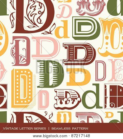 Seamless vintage pattern of the letter D in retro colors