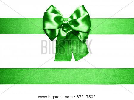 green bow and ribbon made from silk