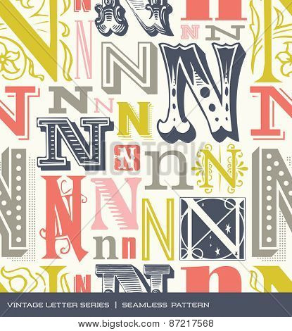 Seamless vintage pattern of the letter N in retro colors