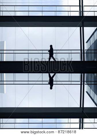 man inside a modern office building