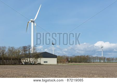 Farmland With Damaged Wind Turbine After A Storm In The Netherlands