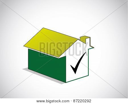 Colorful Perfect Chosen Green Home House Icon & Right Tick Symbol