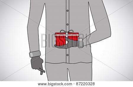 Professionally Dressed Man Holding A Surprise Gift With Finger Crossed - Concept Illustration
