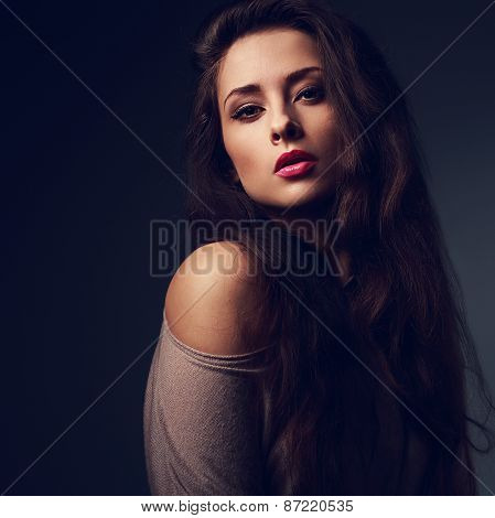 Sexy Long Hair Woman With Hot Pink Lips On Dark