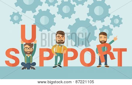 Three hipster Caucasian businessmen with beard holding a letter, it is a support message they need help from others. Teamwork concept. A contemporary style with pastel palette soft blue tinted