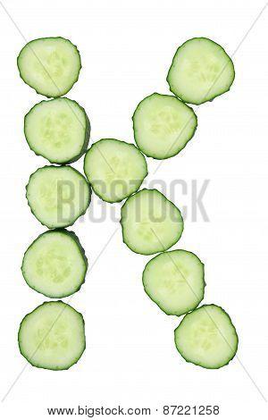 Vegetable Alphabet Of Chopped Cucumber  - Letter K
