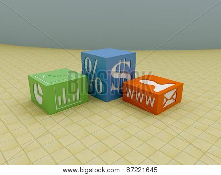 Business Blocks On Tiled Floor With Marketing Symbols