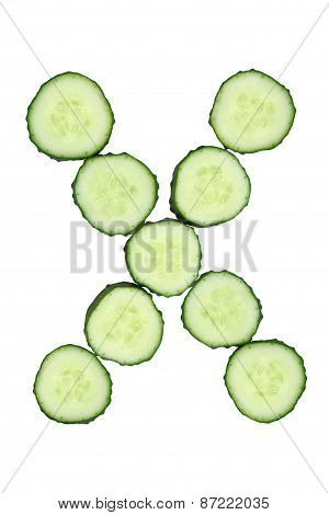 Vegetable Alphabet Of Chopped Cucumber  - Letter X
