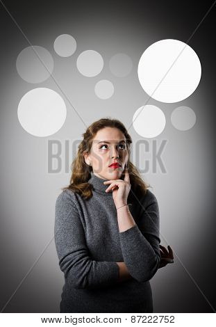 Girl In Grey And Grey Bubbles.