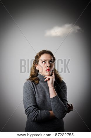 Girl In Grey And Cloud