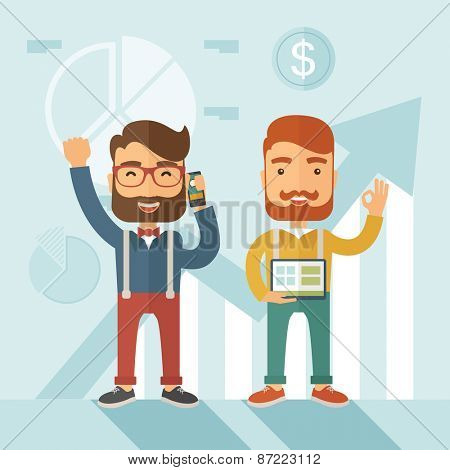 Two hipster Caucasian employees with beard standing happy for the certicate award they received for being a top on sales. Winner, happy concept. A contemporary style with pastel palette soft blue