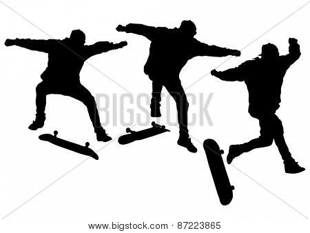 Silhouette athletes of skates on white background