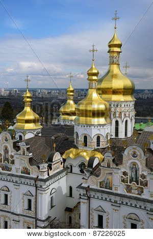 aerial view of Kiev-Pechersk Lavra at spring