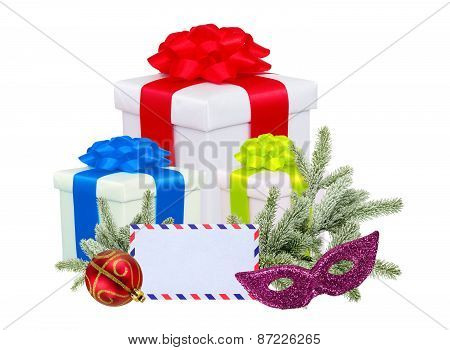 Christmas Gifts With Post Card And Branch Firtree Isolated On White Background