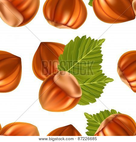 Filberts with leaves seamless background