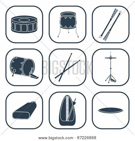 Drum Icons. Silhouette. Isolated. Vector