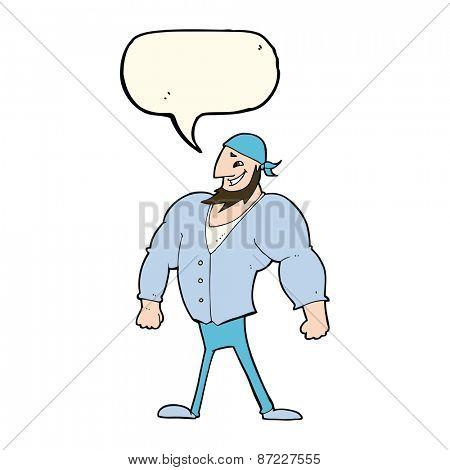cartoon manly sailor man with speech bubble
