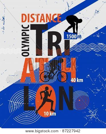 Vector illustration of a triathlon.